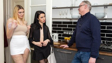 Two babes share an old guy for a threesome