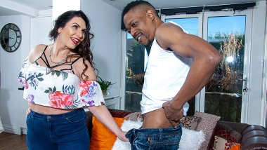 Big breasted Josephine James gets a hard black cock to fuck