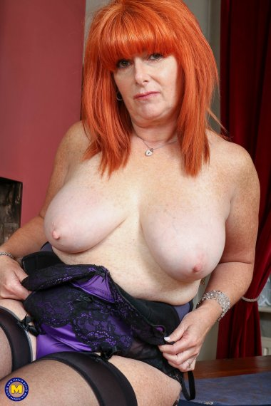 Red curvy mature lady stripping down and then some