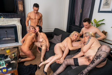 Four older ladies get fucked by a toyboy and his teacher