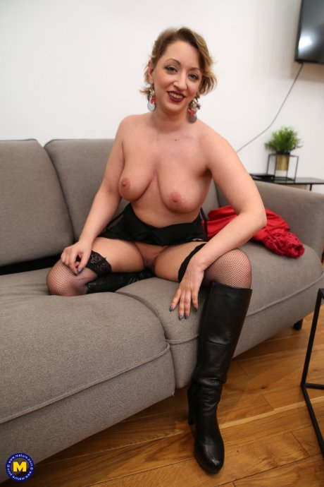 Naughty mom loves playing with her shaved pussy